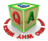 3d colorful question answer cube — Foto Stock