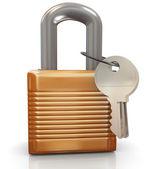 3d cadeado e chaves — Fotografia Stock