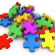 Stock Photo: 3d heap of puzzle peaces