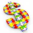 3d dollar symbol puzzle — Stock Photo