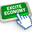 3d excite economy button — Stock Photo