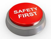 3d safety first button — Stock Photo