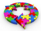 3d flow diagram puzzle — Stock Photo