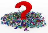 3d heap of question marks — Stok fotoğraf