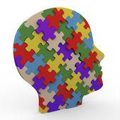 3d puzzle hlava — Stock fotografie