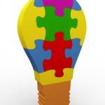 3d puzzle bulb — Stock Photo #9691733