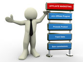 3d man affiliate marketing — Stock Photo