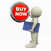 3d man pushing buy now button — Stok fotoğraf