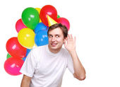 Happy man with balloons — Stock Photo
