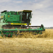 Stock Photo: Combine harvester harvesting wheat cereal