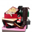 Stock Photo: Female shoes and cardboard boxes