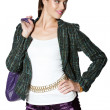Beautiful woman in purple skirt and green tweed jacket — Stock Photo