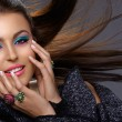 Italian beauty with fashion make-up - Stock Photo