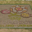 Flower bed with the symbols of Euro 2012 — Stock Photo
