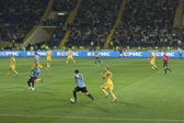 Football match Ukraine vs Uruguay — Stock Photo