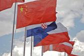 Gama de banderas del mundo que sopla — Foto de Stock