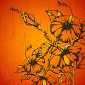 Grungy Retro Flower — Stock Vector