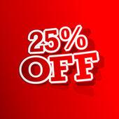 25 procents rabatt klistermärke — Stockvektor