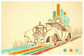 Vintage Car on Retro Background — Stock Vector