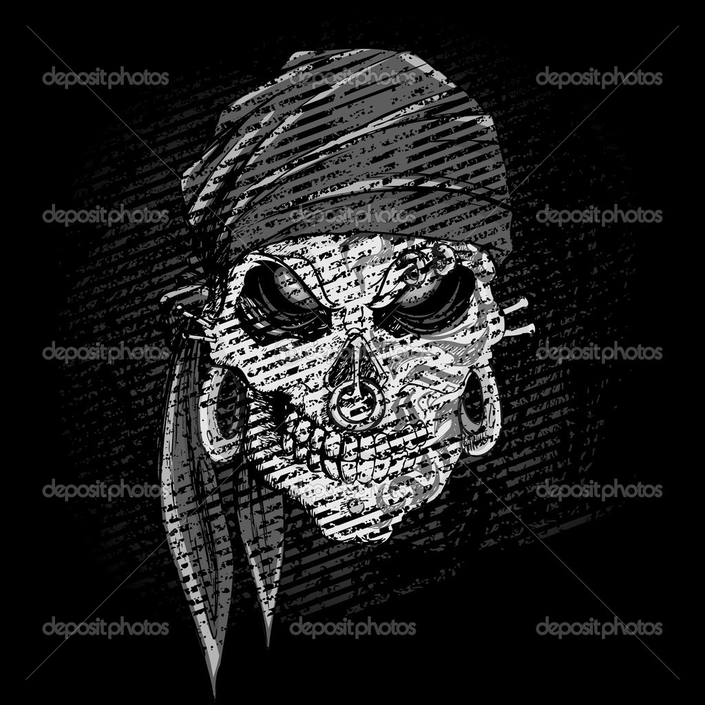 Illustration of grungy abstract skull on dark background — Stock Vector #10225243
