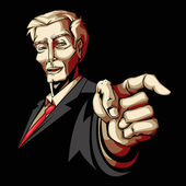 Businessman pointing forward — Stok Vektör