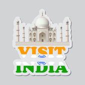 Visitez l'autocollant de l'inde — Vecteur