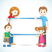 Happy 3d Family in Vector holding Placard — Stock Vector