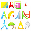 Different Icon with alphabet A — Stock Vector #10390894