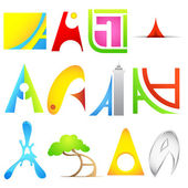 Different Icon with alphabet A — Stock Vector