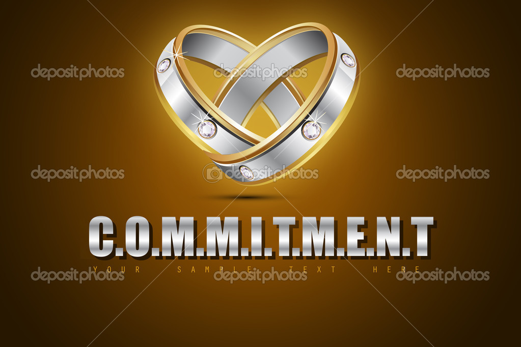 Illustration of pair of engagement rings showing commitment — Stock Vector #10390492