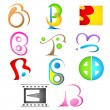 Different Icon with alphabet b — Stock Vector