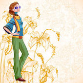 Retro Floral Woman — Stock Vector