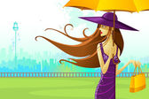 Woman with Umbrella — Stock Vector
