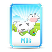 Cow on Milk Banner — Stock Vector