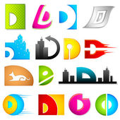 Different Icon with alphabet D — Vettoriale Stock
