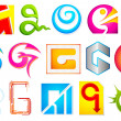 Stock Vector: Different Icon with alphabet G