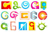 Different Icon with alphabet G — Stock Vector