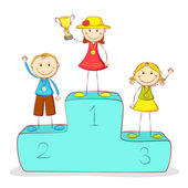 Kids on Victory Podium — Stock Vector