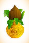 Mangal kalash con cocco — Vettoriale Stock