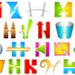 Different Icon with alphabet H - Stock Vector
