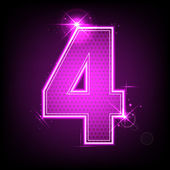 Glowing Number Four — Stock Vector