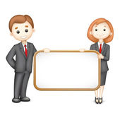 3d Business Man and Woman in Vector — Stock Vector
