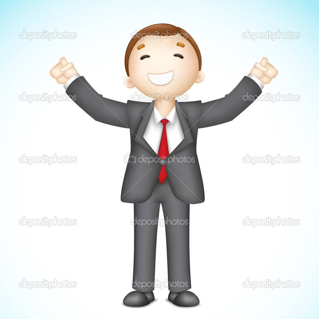 Illustration of 3d business man in vector showing happy gesture — Stock Vector #10647784