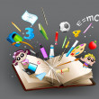 Education object coming out of book — Imagen vectorial
