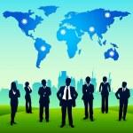 Business Standing in urban landscape — Stock Vector