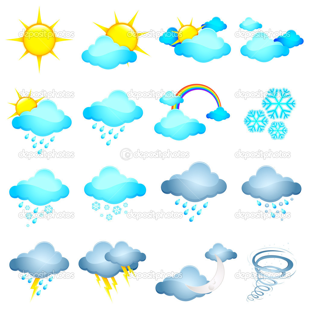 Illustration of set of different weather icon in halftone style — Stock Vector #8055761