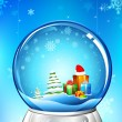 Christmas Gift in Glass Ball — Stock Vector