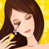 Lady applying eye Mascara — Stock Vector