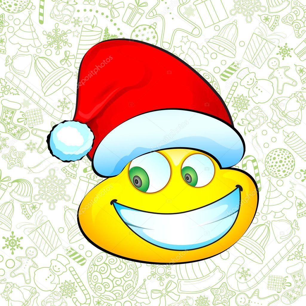 笑脸与圣诞老人帽子圣诞节背景上的插图