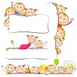 Kids behind Placard Illustration — Stock Vector #8301482